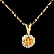 18K Gold 0.36ctw Sapphire & 0.43ctw Diamond Pendan