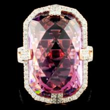 14K Gold 17.24ct Amethyst & 0.62ctw Diamond Ring