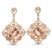 14K Gold 16.00ct Morganite & 1.45ct Diamond Earrin