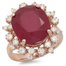 14k Gold 14.00ct Ruby & 1.00ct Diamond Ring