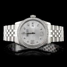 Rolex SS DateJust 1.50ct Diamond Men's Wristwatch