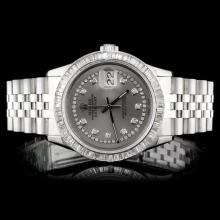 Rolex SS DateJust 3.50ct Diamond Men's Watch