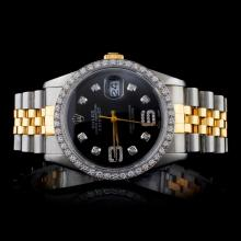 Rolex YG/SS DateJust 1.50CT Diam Men's Wristwatch