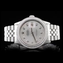 Rolex SS DateJust Men's 1.35ct Diamond Wristwatch