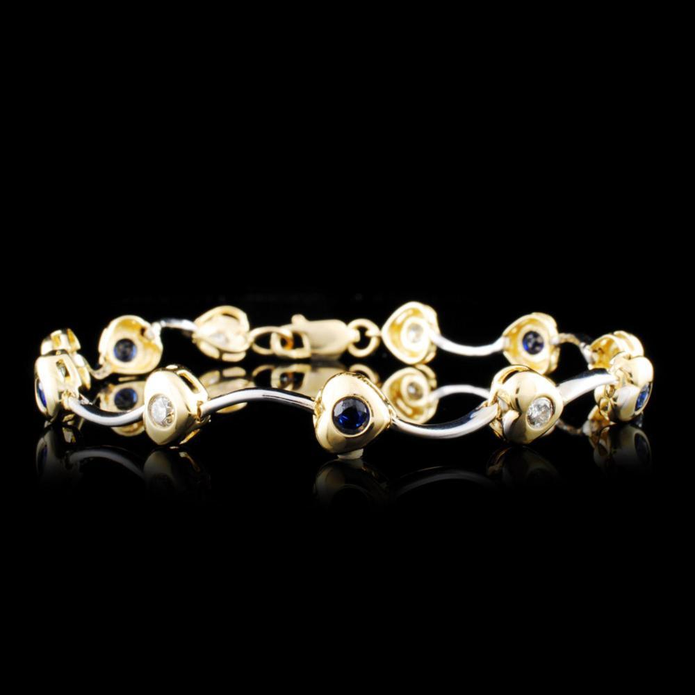 14K Gold 0.78ctw Sapphire & 0.51ctw Diamond Bracel