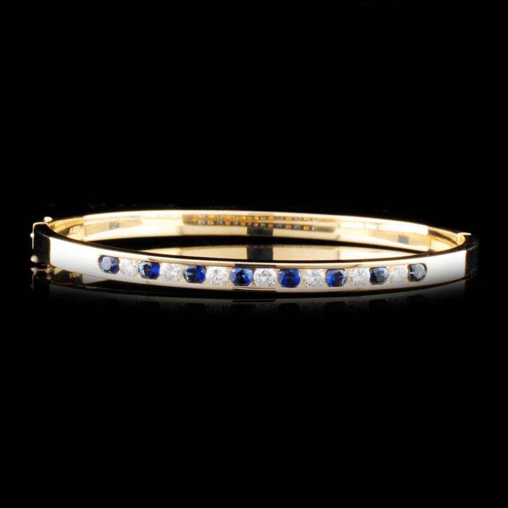 14K Gold 0.78ctw Sapphire & 0.53ctw Diamond Bracel