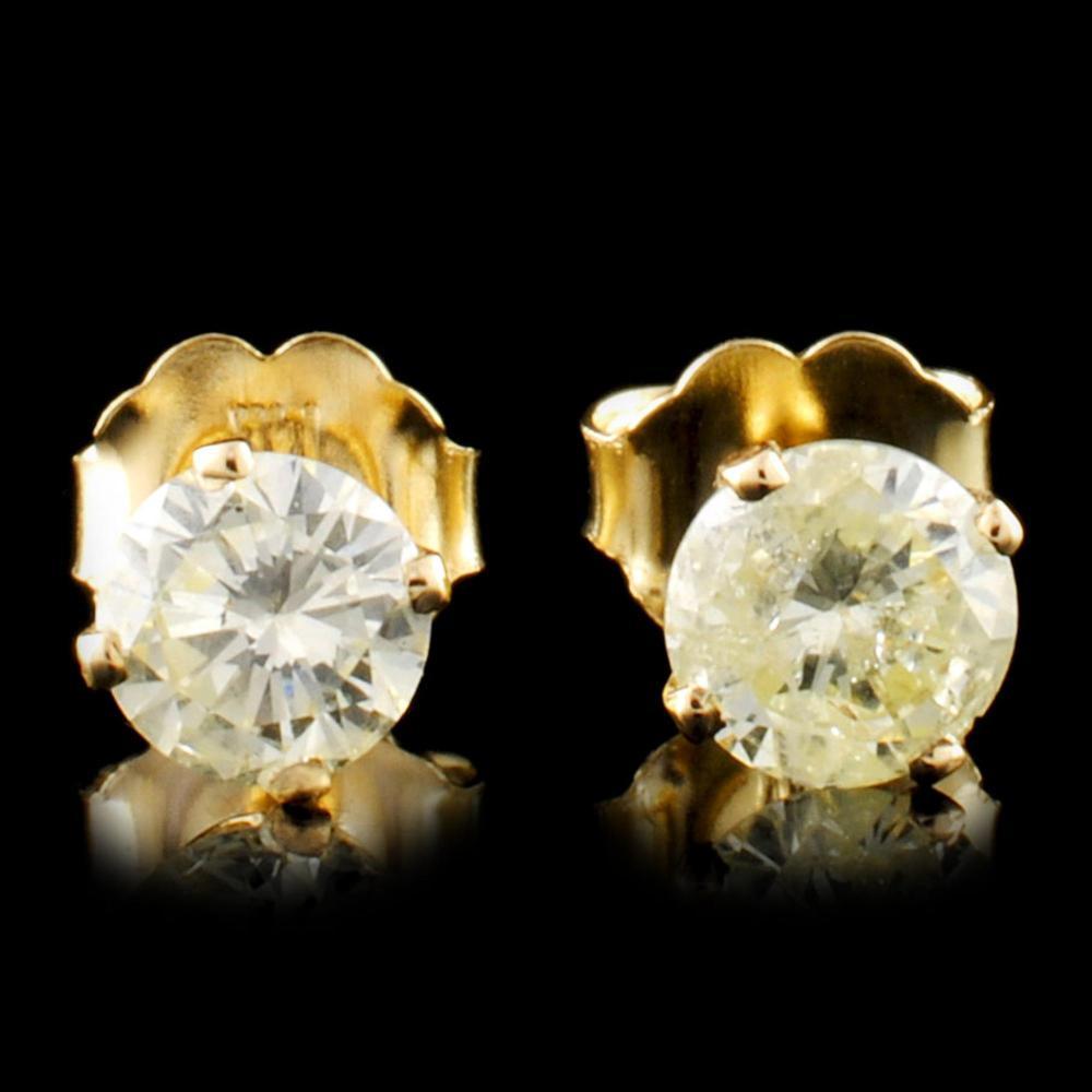 14K Gold 0.78ctw Stud Diamond Earrings
