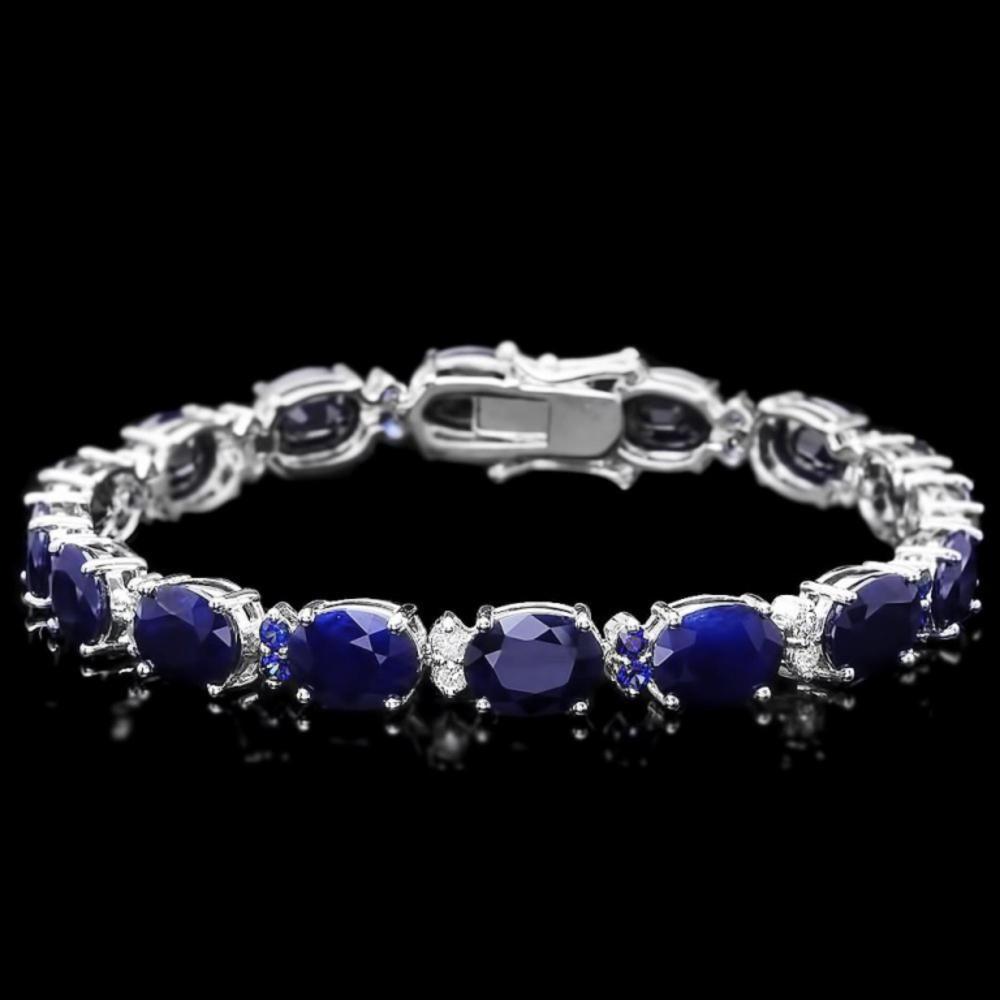 `14k Gold 37.50ct Sapphire & 0.60ct Diamond Bracel