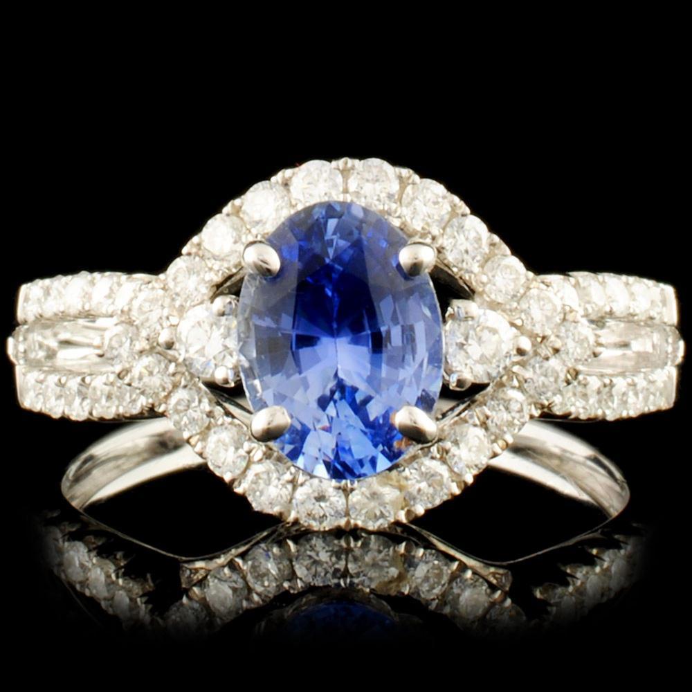 18K Gold 1.04ct Sapphire & 0.45ctw Diamond Ring