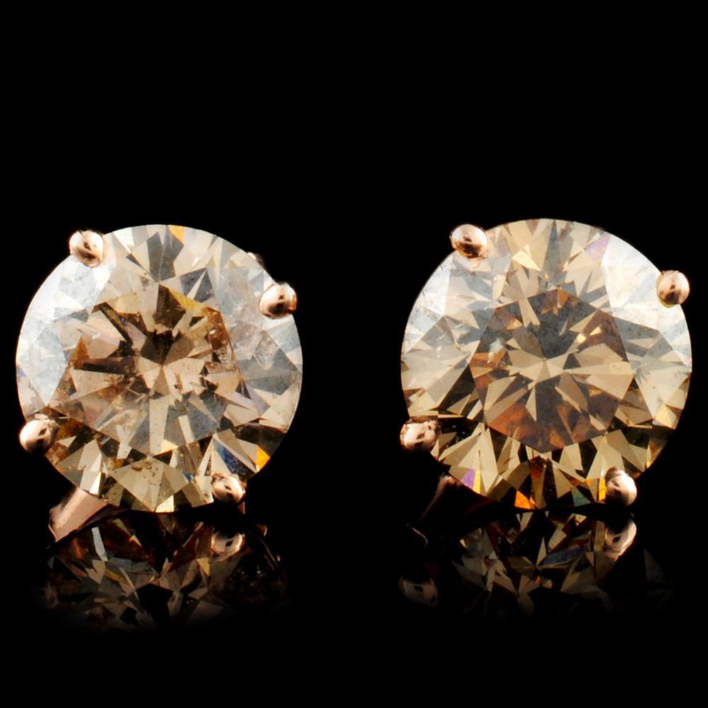 14K Gold 3.81ctw Stud Diamond Earrings
