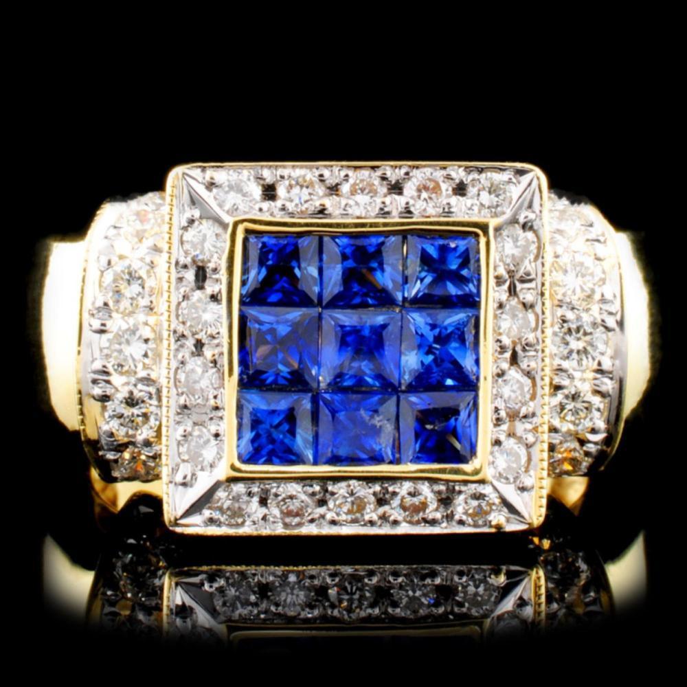 18K Gold 1.05ctw Sapphire & 0.56ctw Diamond Ring