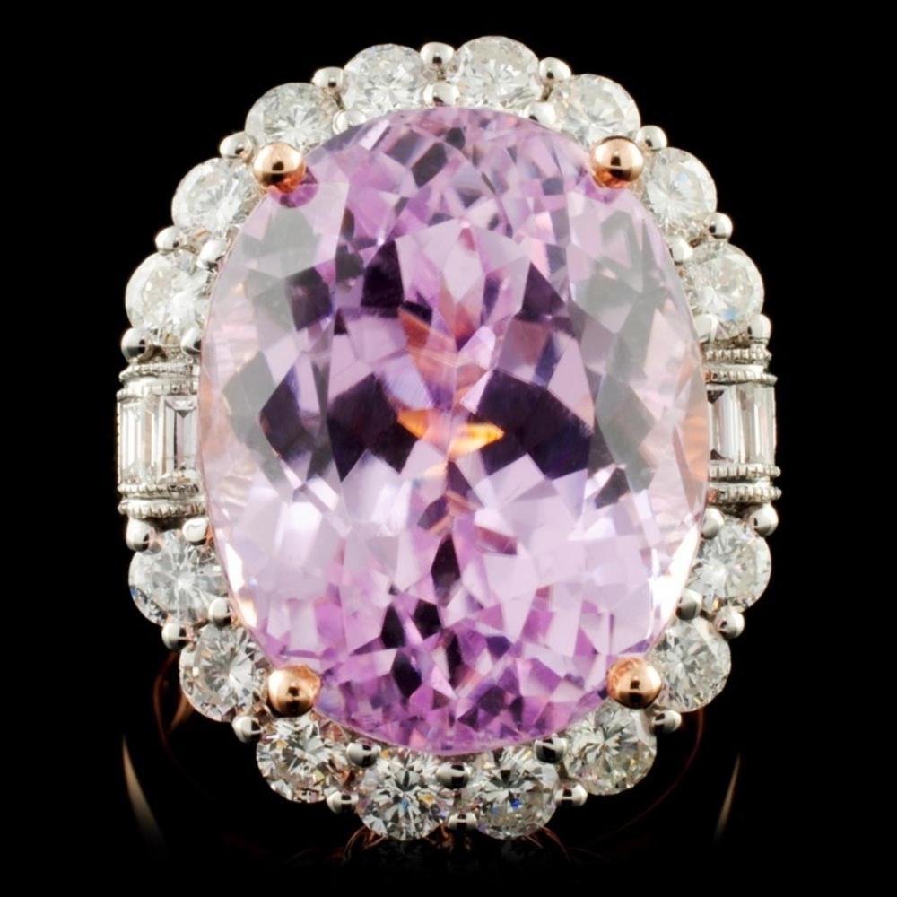14K R Gold 21.06ct Kunzite & 1.99ct Diamond Ring