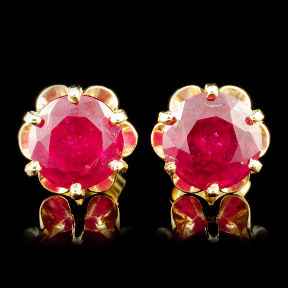 14K Gold 4.41ctw Ruby Earrings