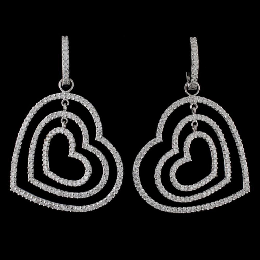 18K White Gold 3.90ct Diamond Earrings