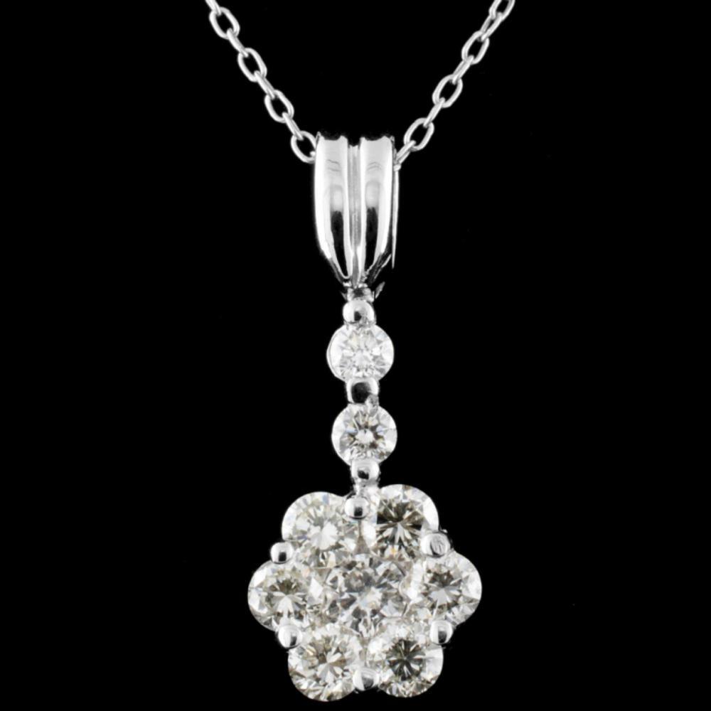 18K White Gold 1.15ctw Diamond Pendant