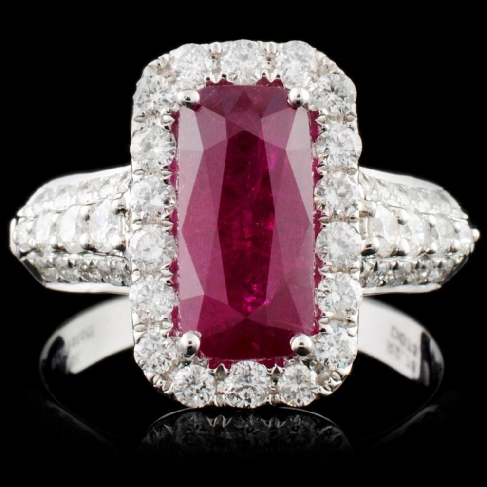 18K White Gold 2.78ct Ruby & 0.73ct Diamond Ring