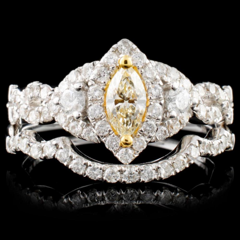 18K White Gold 0.97ctw Fancy Color Diamond Ring