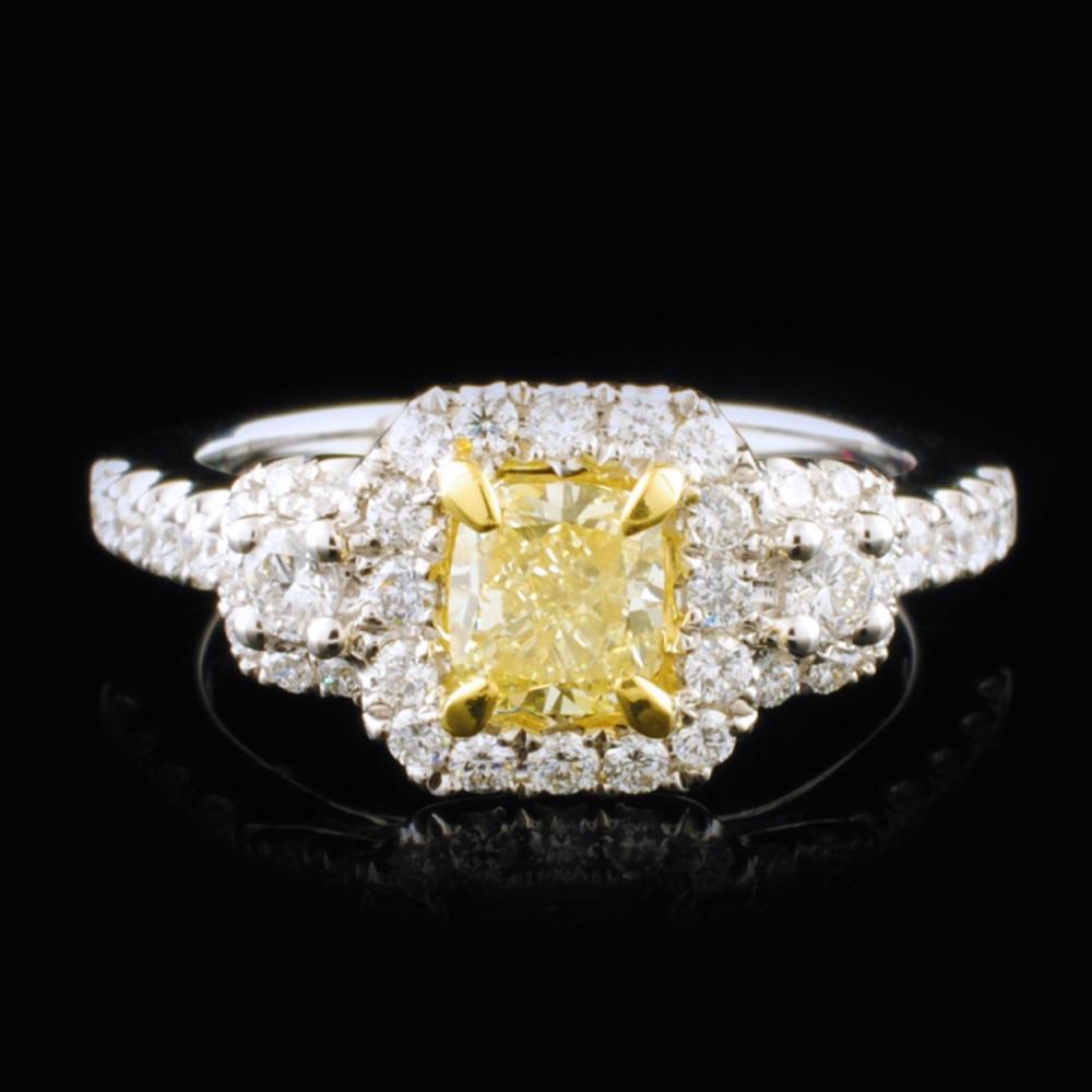 18K White Gold 1.32ctw Fancy Yellow Diamond Ring
