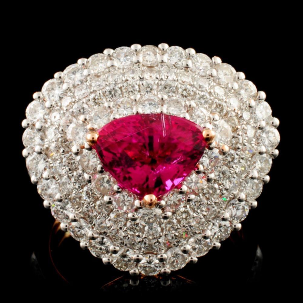 18K Gold 1.86ct Sapphire & 2.28ctw Diamond Ring