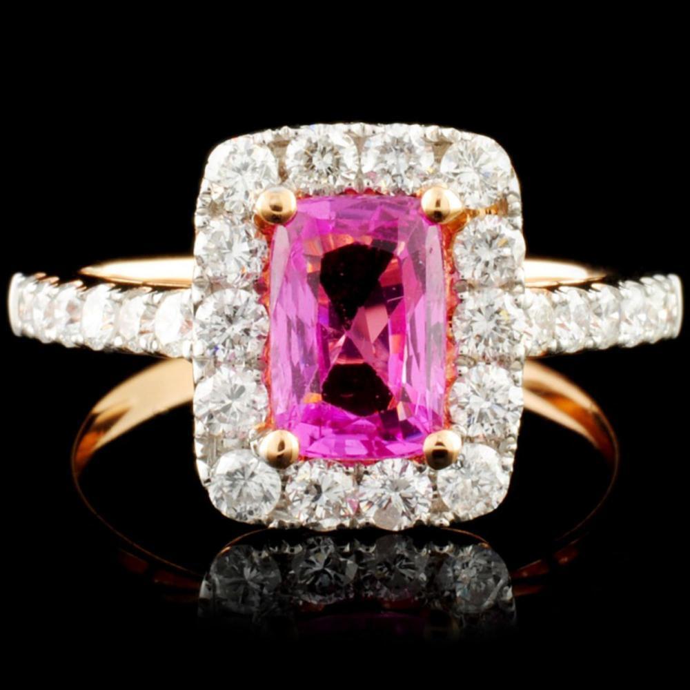 18K Gold 1.36ct Sapphire & 0.85ctw Diamond Ring