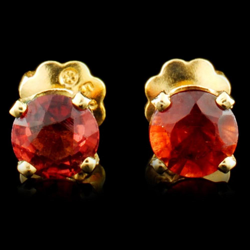 14K Gold 0.54ct Garnet Earrings