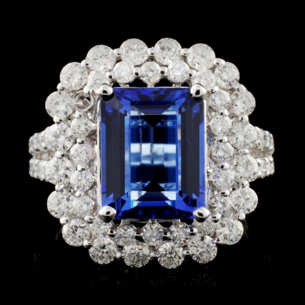 18K W Gold 3.81ct Tanzanite & 1.82ct Diamond Ring