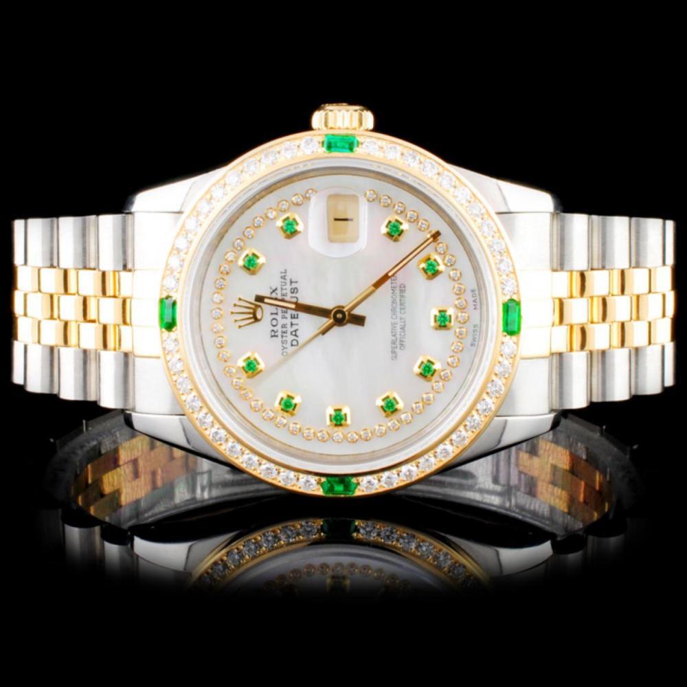 Rolex TwoTone DateJust Diamond Wristwatch