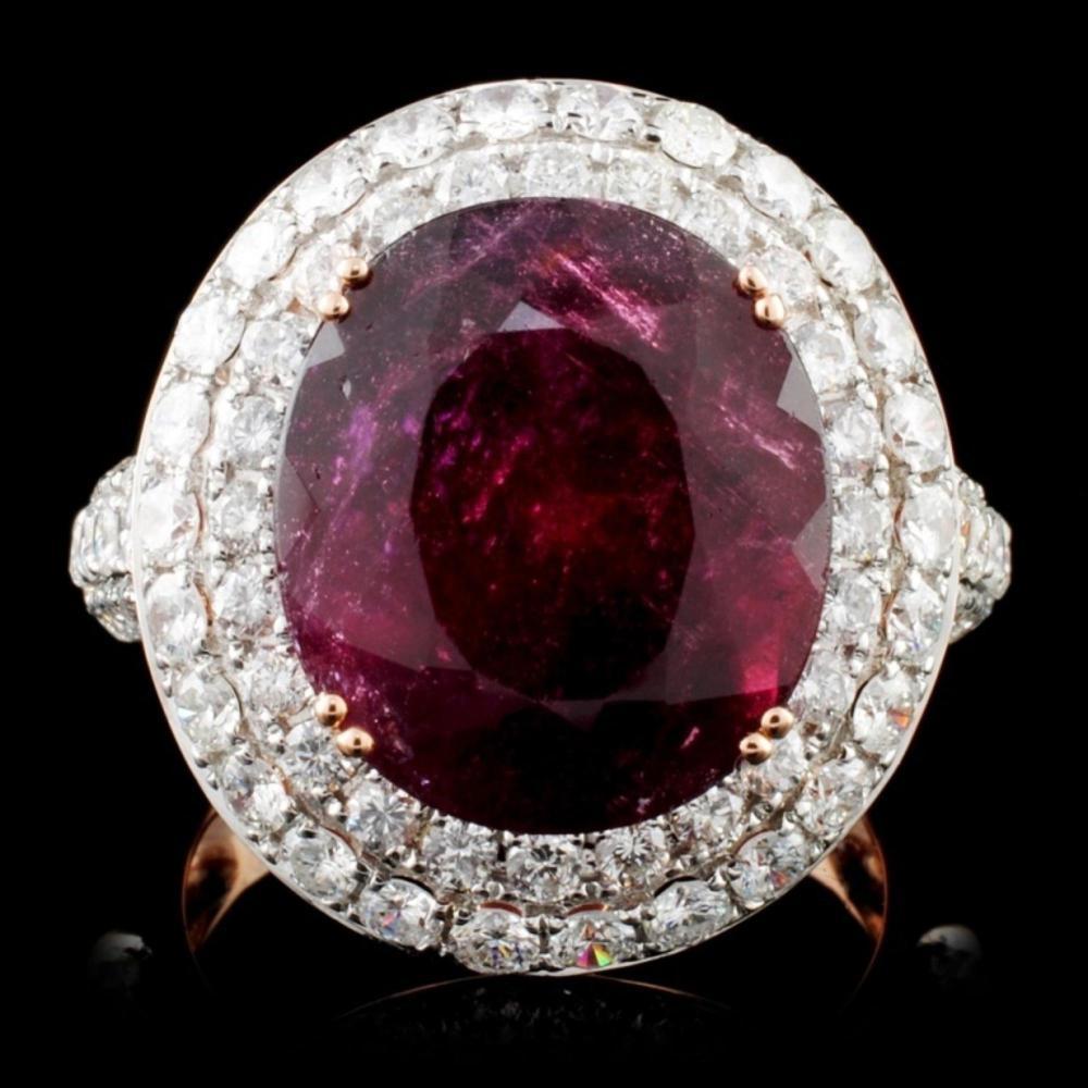 18K Gold 9.32ct Tourmaline & 2.16ct Diamond Ring