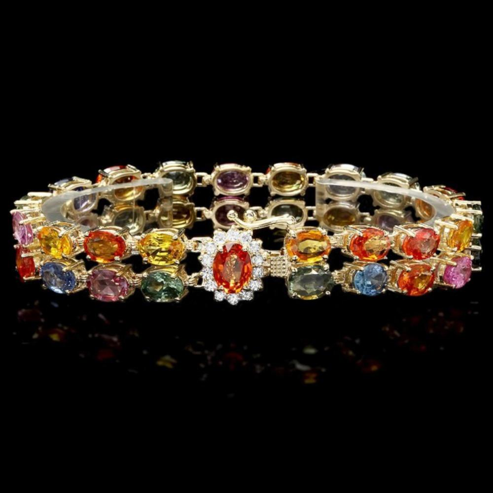 `14k Gold 35.00ct Sapphire & 0.50ct Diamond Bracel