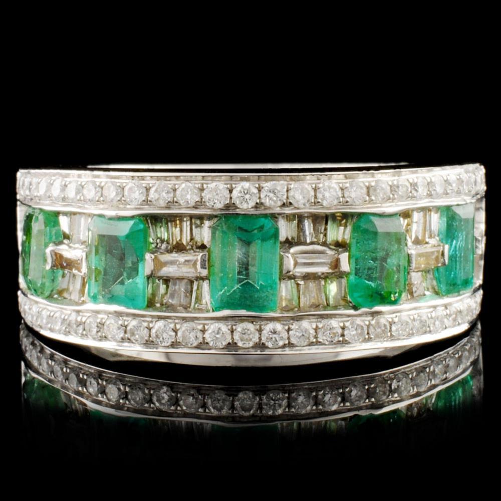 18K Gold 1.05ct Emerald & 0.75ctw Diamond Ring