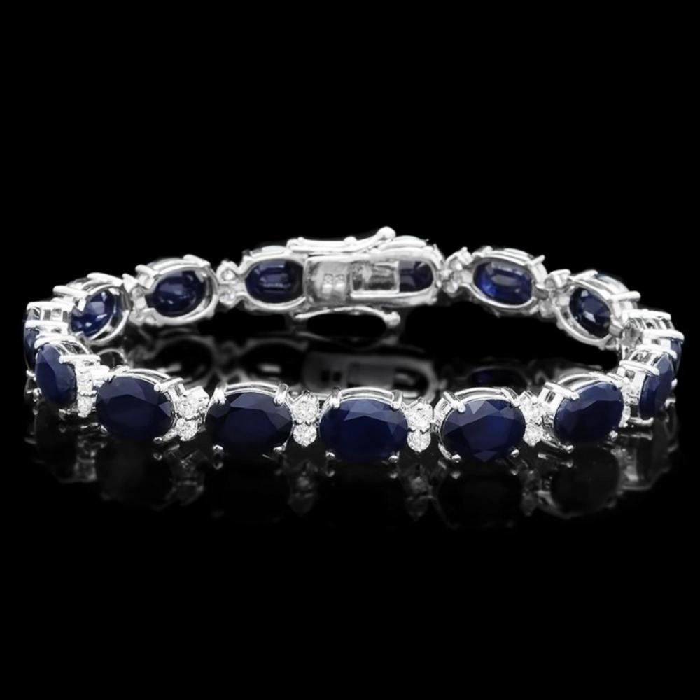 `14k Gold 40.00ct Sapphire & 1.50ct Diamond Bracel