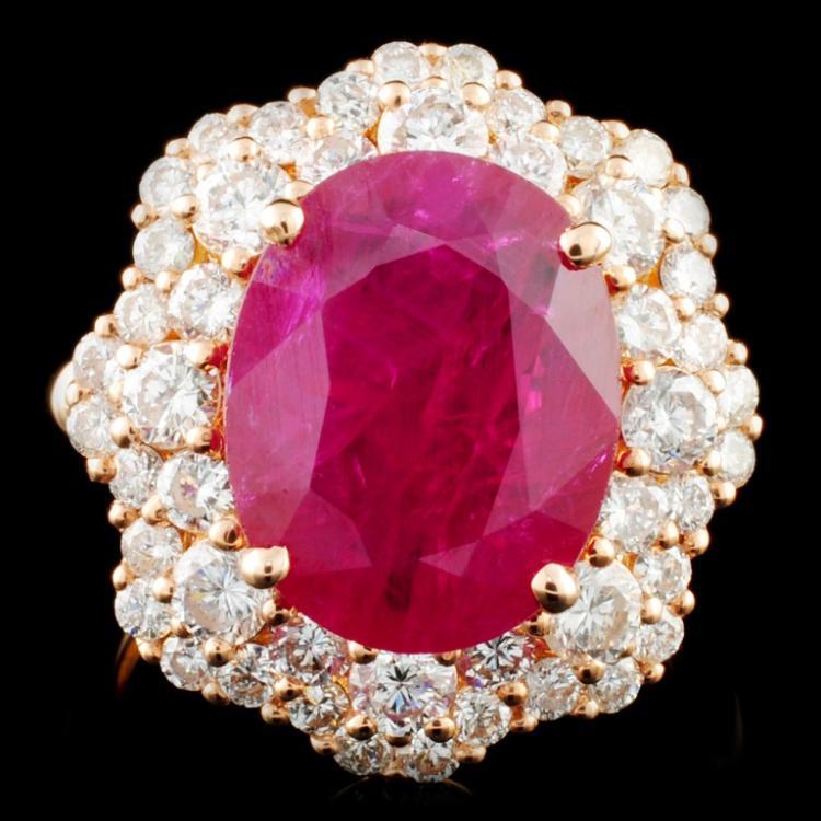 *GIA 18K Gold 5.67ct Ruby & 2.08ctw Diamond Ring