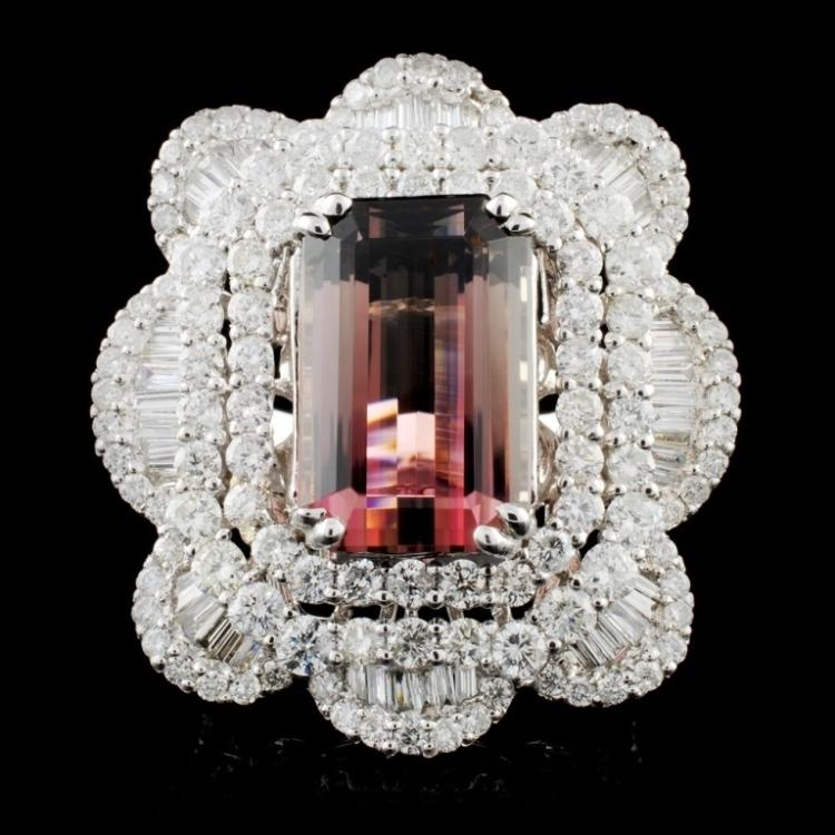 18K White Gold 8.62ct Tourmaline & 4.56ctw Diamond