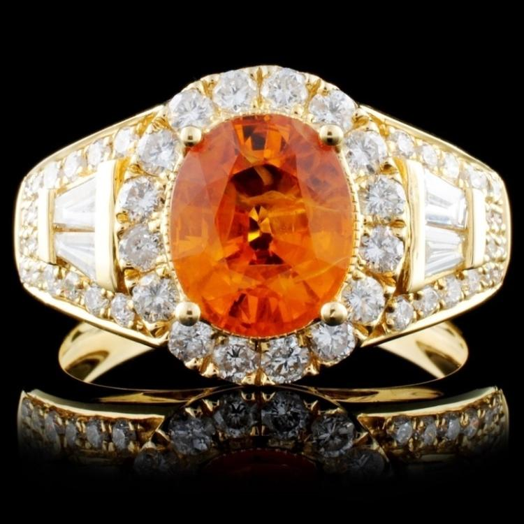 18K Yellow Gold 2.54ct Sapphire & 1.15ct Diamond R