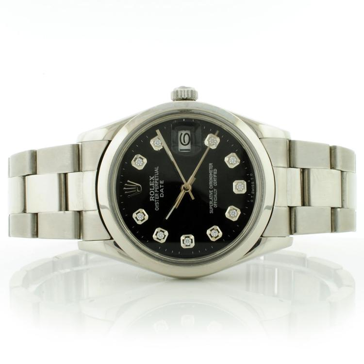 Rolex Oyster Date 34MM SS Black Diamond Dial Genui