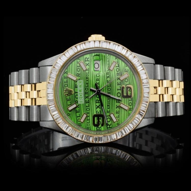 Rolex YG/SS DateJust 2.25ct Diamond Men's Watch