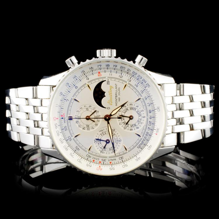 Breitling SS Montbrilliant Moonphase Wristwatch