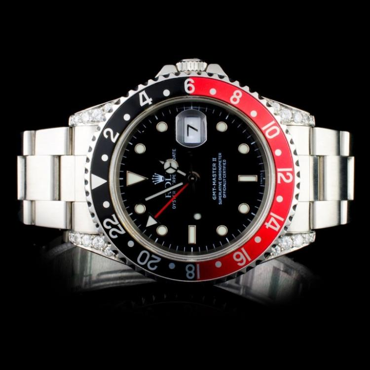 Rolex SS GMT-Master II Diamond Wristwatch