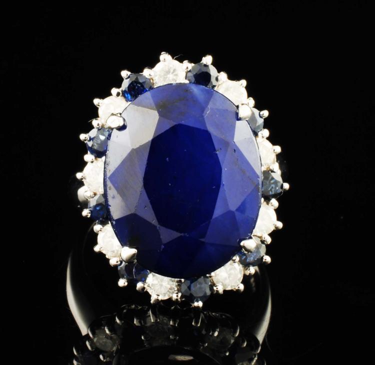 14K WGold 15.81ctw Blue Sapphire & Diamond Ring