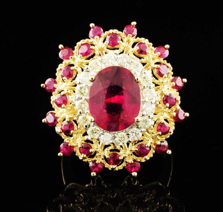 14K Y Gold 4.89ctw Ruby & Diamond Ring