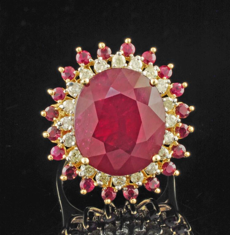 14K YGold 14.47ctw Ruby & Diamond Ring