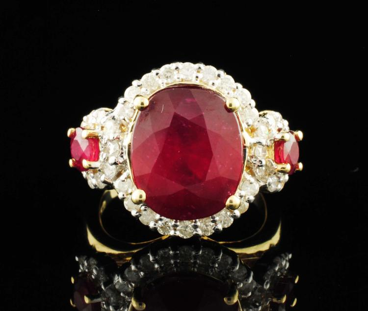 14K Yellow Gold 9.82ctw Diamond Ruby Ring