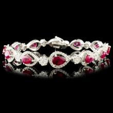 18K Gold 6.25ct Ruby & 2.60ctw Diamond Bracelet