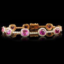 18k Gold 13.16ct Pink Sapphire & 3.10ctw Diamond B