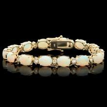 `14k Gold 15.00ct Opal & 1.00ct Diamond Bracelet