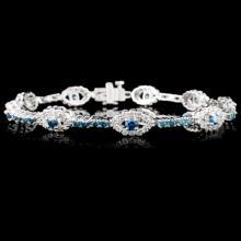14K White Gold 3.76ctw Fancy Color Diamond Bracele