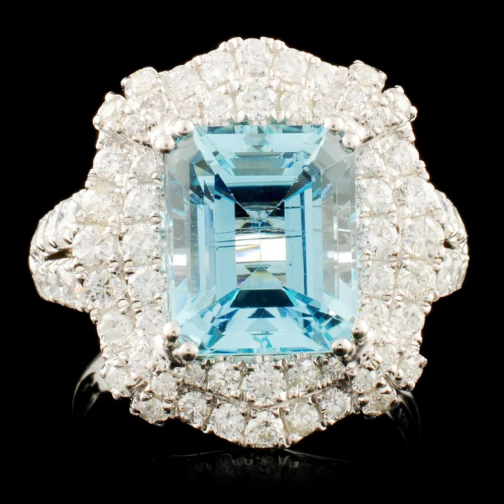 18K Gold 3.87ct Aquamarine & 1.56ctw Diamond Ring