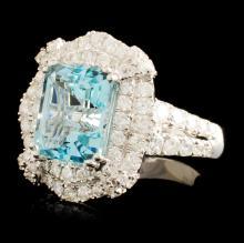 Lot 2: 18K Gold 3.87ct Aquamarine & 1.56ctw Diamond Ring