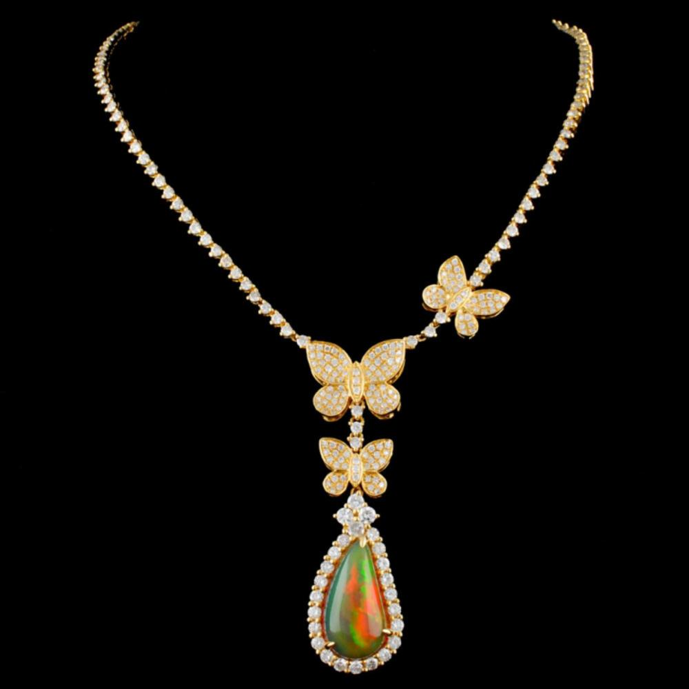 18K Gold 3.72ct Opal & 3.03ctw Diamond Necklace