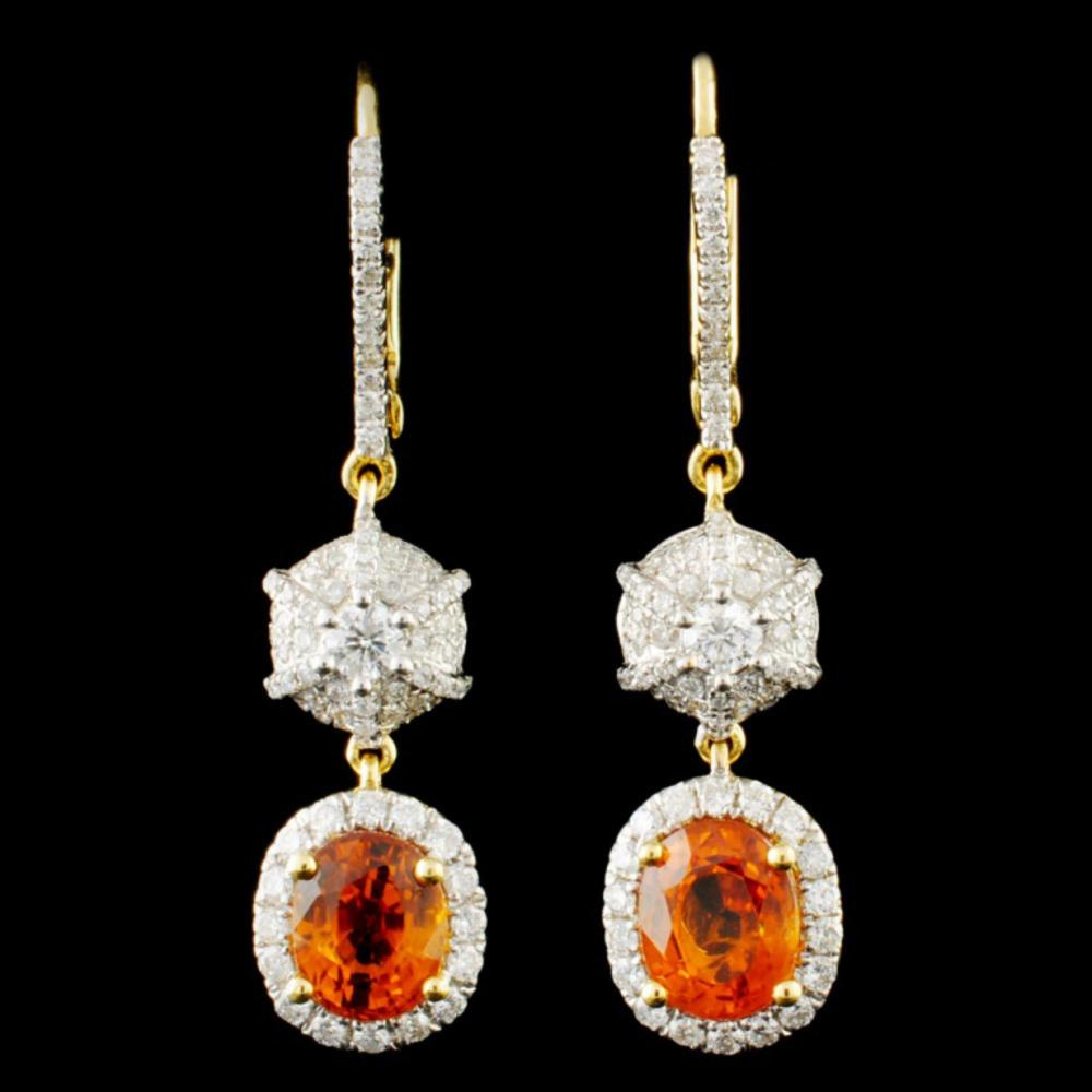 18K Gold 3.72ct Sapphire & 0.91ctw Diamond Earring